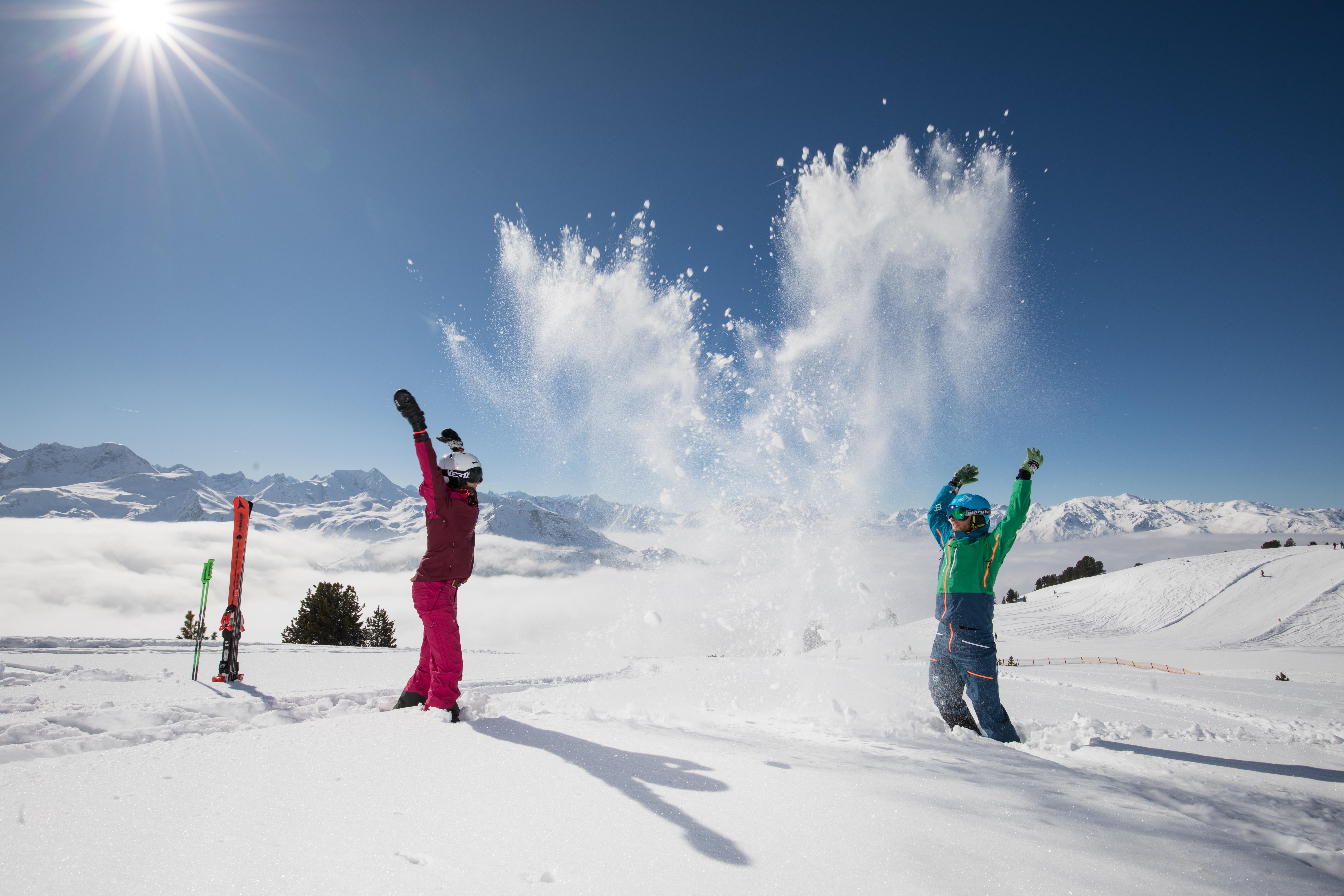Sneeuwpret in het skigebied Zillertal